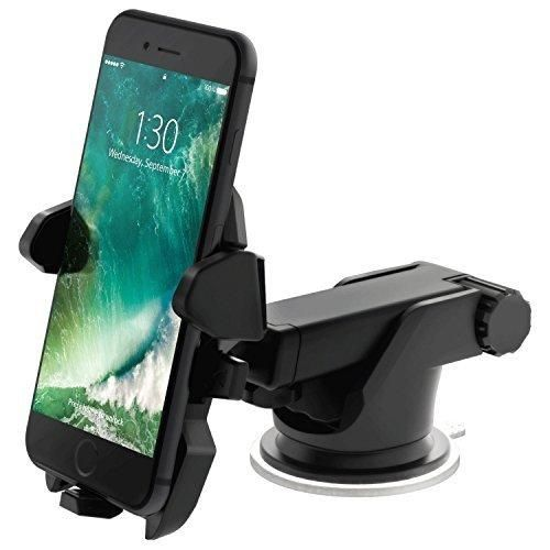 TOTIE Car Mount HolderUniversal Car Dashboard Windshield Phone Mount for iPhone 7s 6s Plus 7 6 6s 5s 5c Samsung Galaxy S8 Edge S7 S6 Note 5 6 7 & SmartphonesBlack