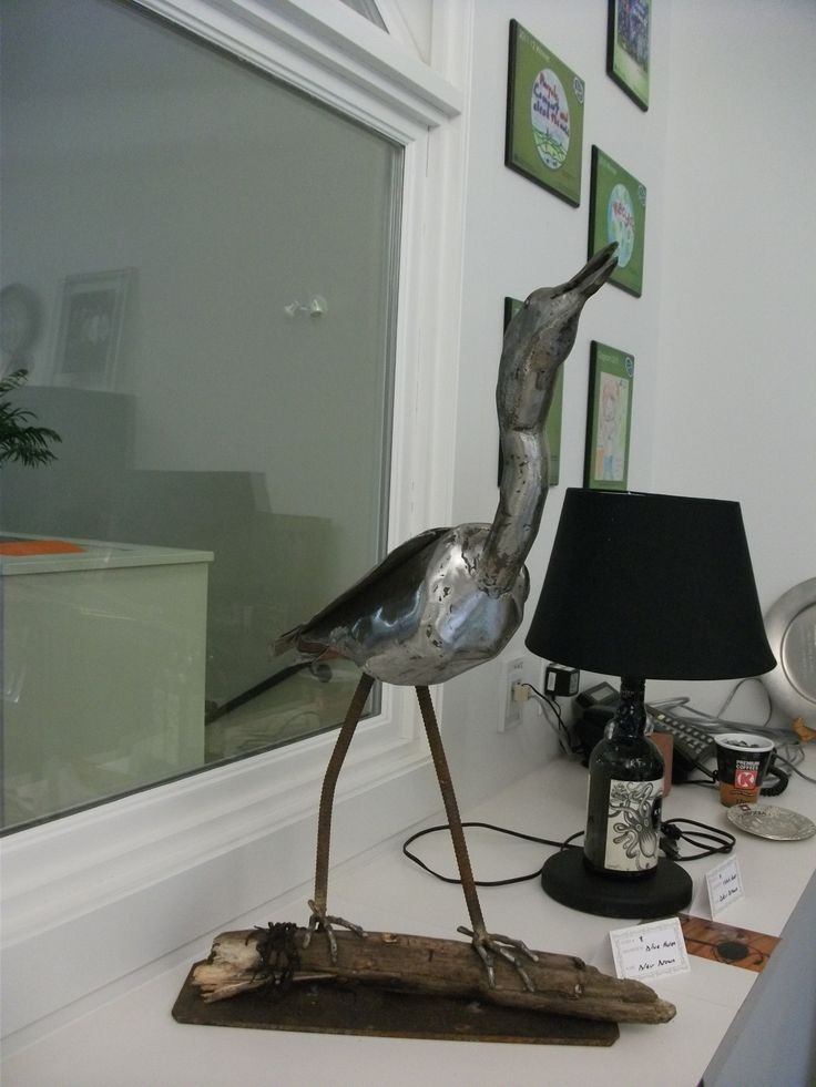 Blue heron sculpture made from scrap metal. Entry submitted by Blair Brown