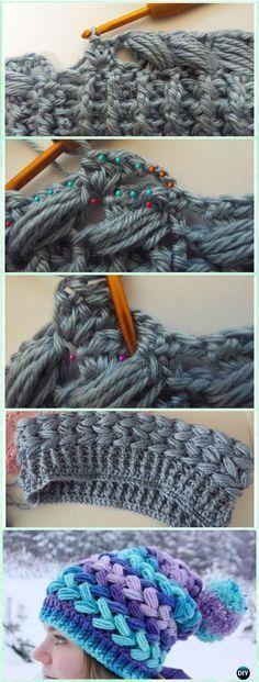 Crochet Braid Puff Stitch Slouch Hat Free Pattern [Video] via @diyhowto