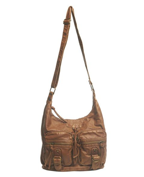 """Made in a super soft faux leather, this great-for-everything hobo bag has a slouchy design with double zippered pockets on the front, metal buckles and straps, and tassel/zip-pull details. The exterior features four zippered pockets and a strap that can be adjusted for wear as a crossbody or shoulder bag. When unzipped, the lined interior can be accessed, which includes a zippered pocket and two open pockets. 10.5"""" Height x 12"""" Width x 5"""" Depth ..."""