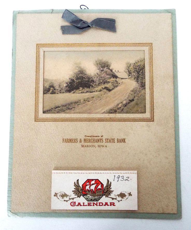 1932 FARMERS & MERCHANTS STATE BANK CALENDAR MARION IOWA HAND COLORED LITHOGRAPH