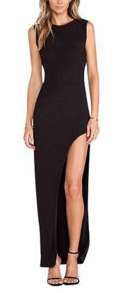 Love the Back of this Dress! Black Cross Back Maxi Dress With Side split