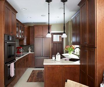 Angled corner cabinets, angled corner sink. Space-saving!
