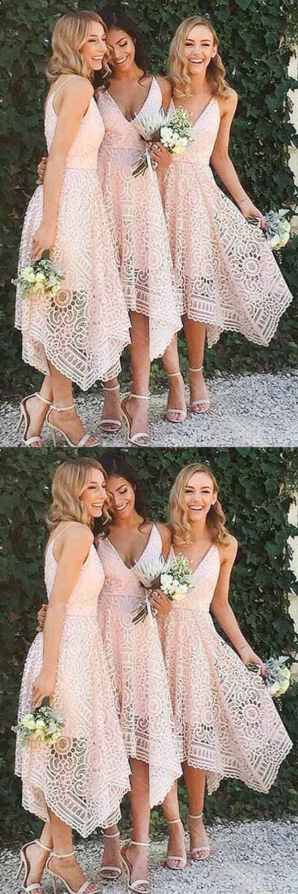 A-Line V-Neck Pearl Pink Lace Bridesmaid/Prom/Homecoming Dress BD053 #bridesmaid #dress #prom #evening #party #lace #fashion