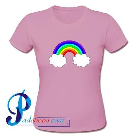 Rainbow With Clouds T Shirt