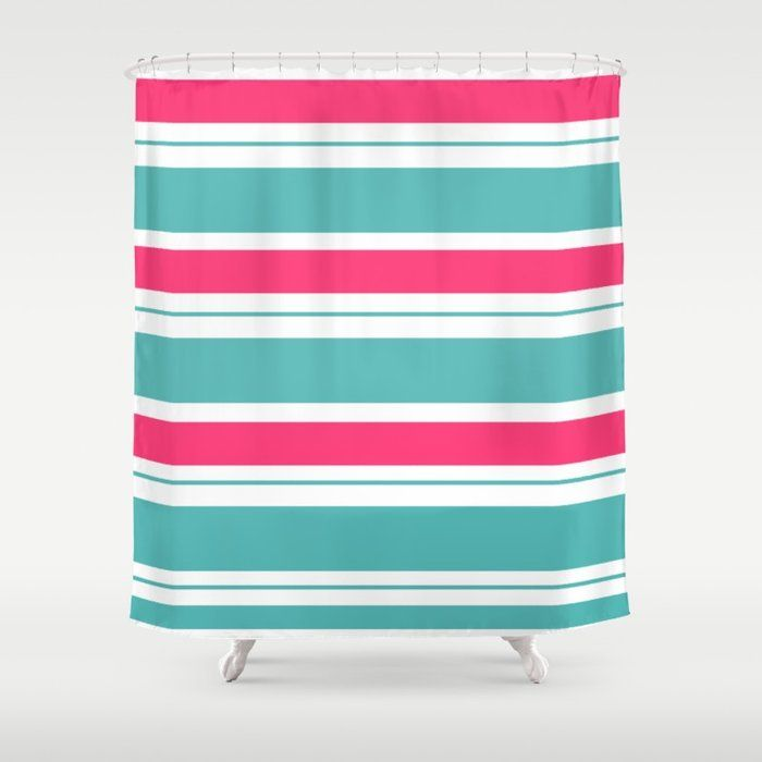 Turquoise And Fuschia Hot Pink Stripes Shower Curtain By Seafoam12