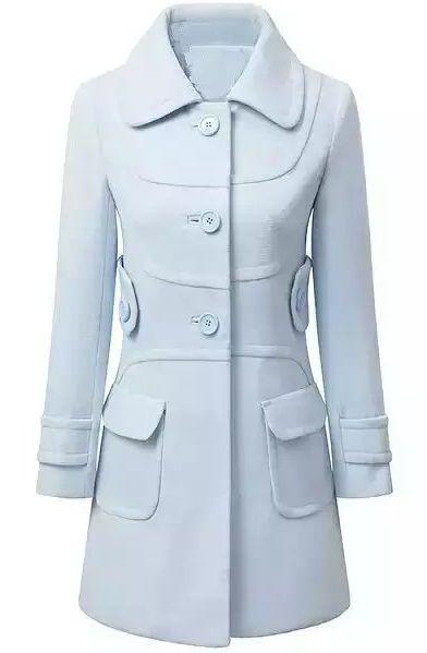 Blue Lapel Long Sleeve Pockets Woolen Coat 36.67