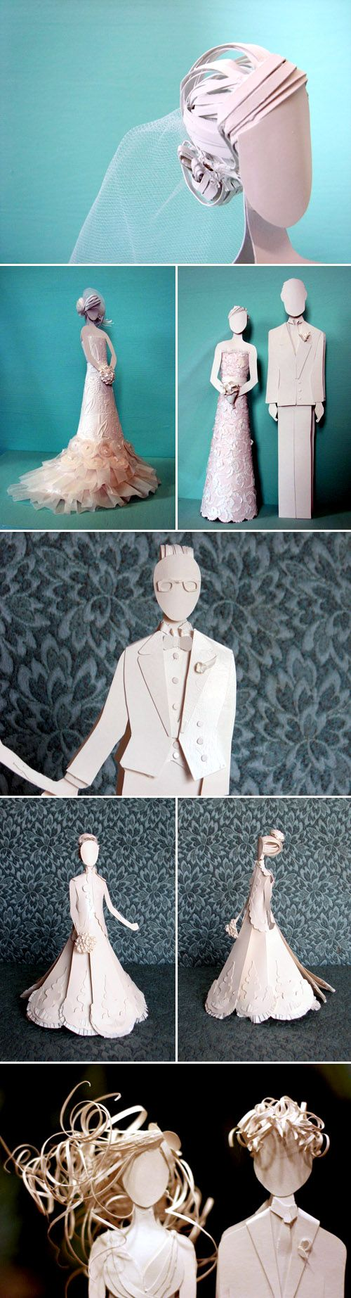paper wedding cake topper and custom paper wedding dresses by Paper, Gowns and Glory