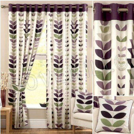 Zest Modern Retro Solid Printed Leaf Pattern Readymade Lined Chrome Eyelet Curtains Cream Aubergine