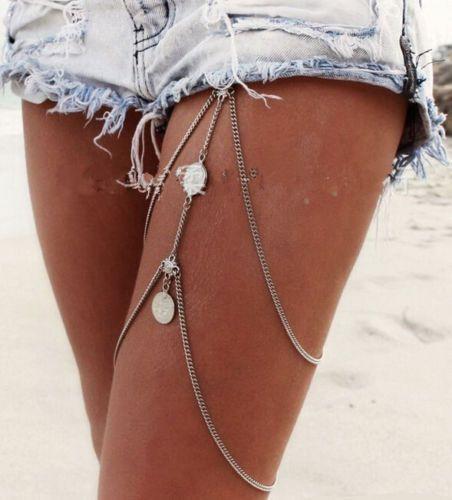 Vintage Körperkette Bikini Bauchkette Body Schenkel Kette Boho Schmuck NEU