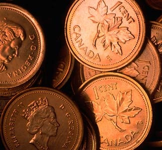 GONE! As of fall, 2012, Canadian pennies will no longer be minted.