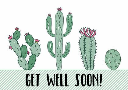 """Kaartje met cactussen en de tekst """"get well soon"""", verkrijgbaar bij #kaartje2go voor €0,99"""