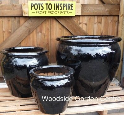 Extra Large Pots And Large Black Glazed Pot Tree Garden Planter