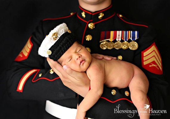 USMC Baby Dress Cover Photo Prop Hat by EmiJessCrochet on Etsy, $25.00