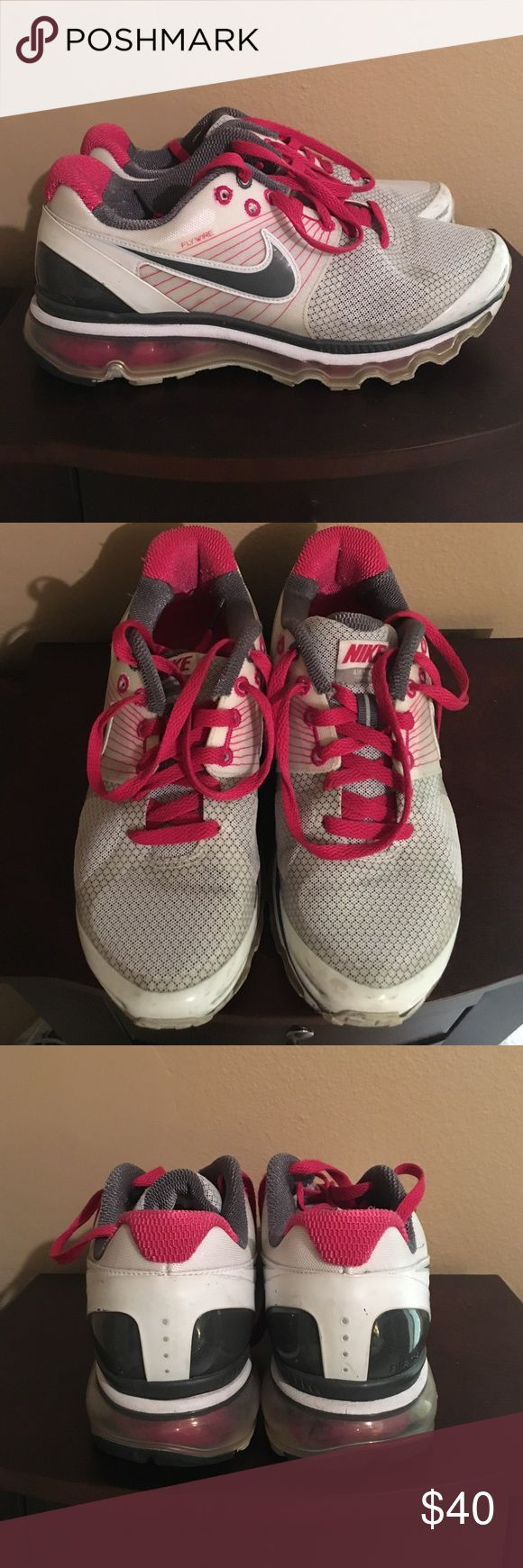 Nike Air Max sneakers Nike Air Max sneakers / white, grey & fuchsia pink / size 8 / gently worn Nike Shoes Sneakers