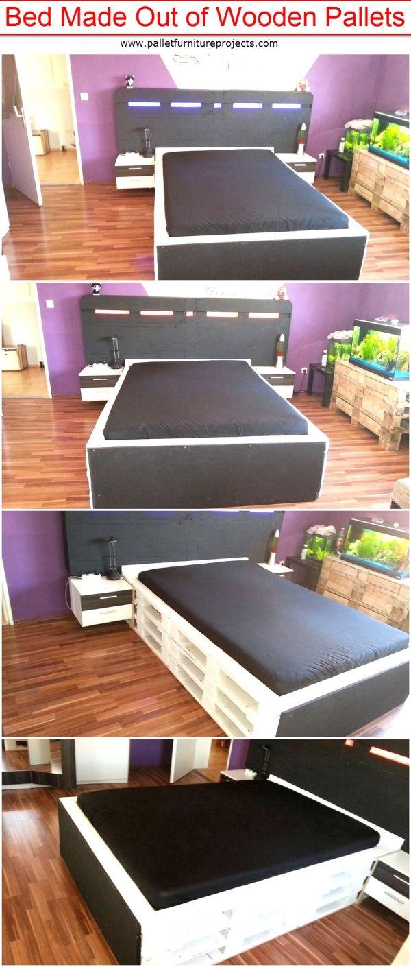 Bed Made Out of Wooden Pallets | Pallet Furniture Projects. by palletfurnitureprojects