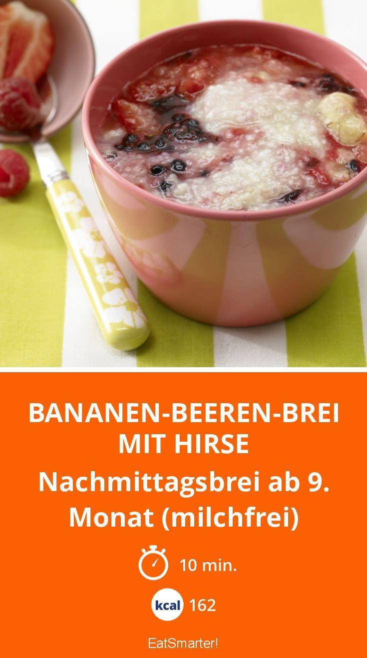 Bananen-Beeren-Brei mit Hirse - Nachmittagsbrei ab 9. Monat (milchfrei) - smarter - Kalorien: 162 Kcal - Zeit: 10 Min. | eatsmarter.de
