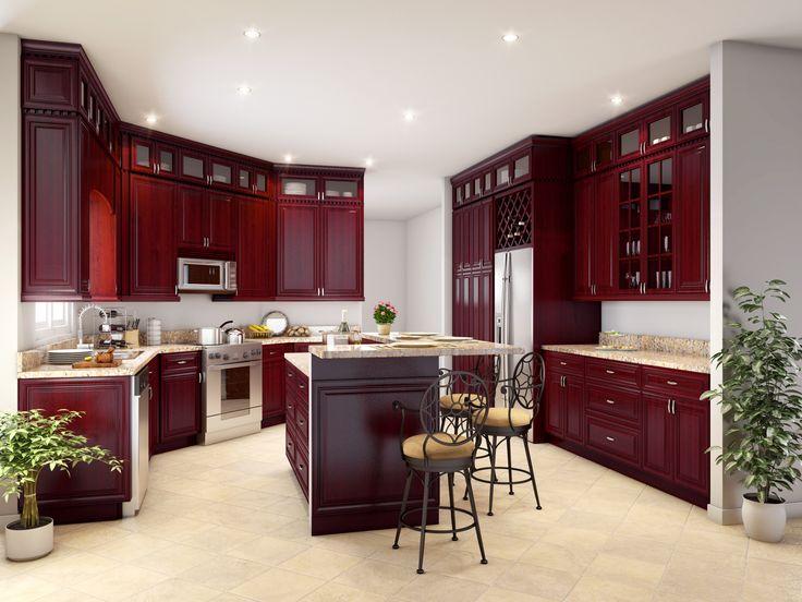 Luxury Cherry Red Kitchen Cabinets