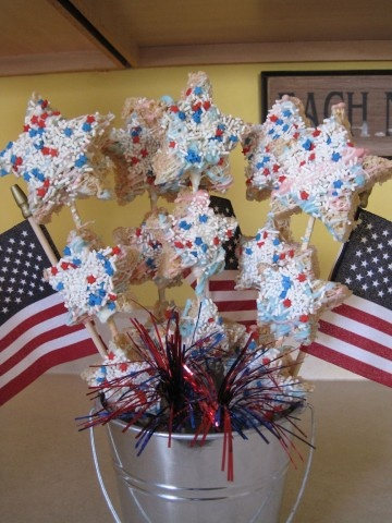Star shaped rice krispy treats for memorial day or july 4th