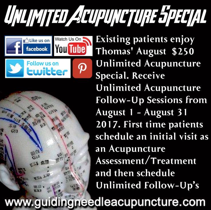 Unlimited Acupuncture Special ($250.00) Receive Unlimited Acupuncture Follow Up Sessions from August 1 - August 31 2017.