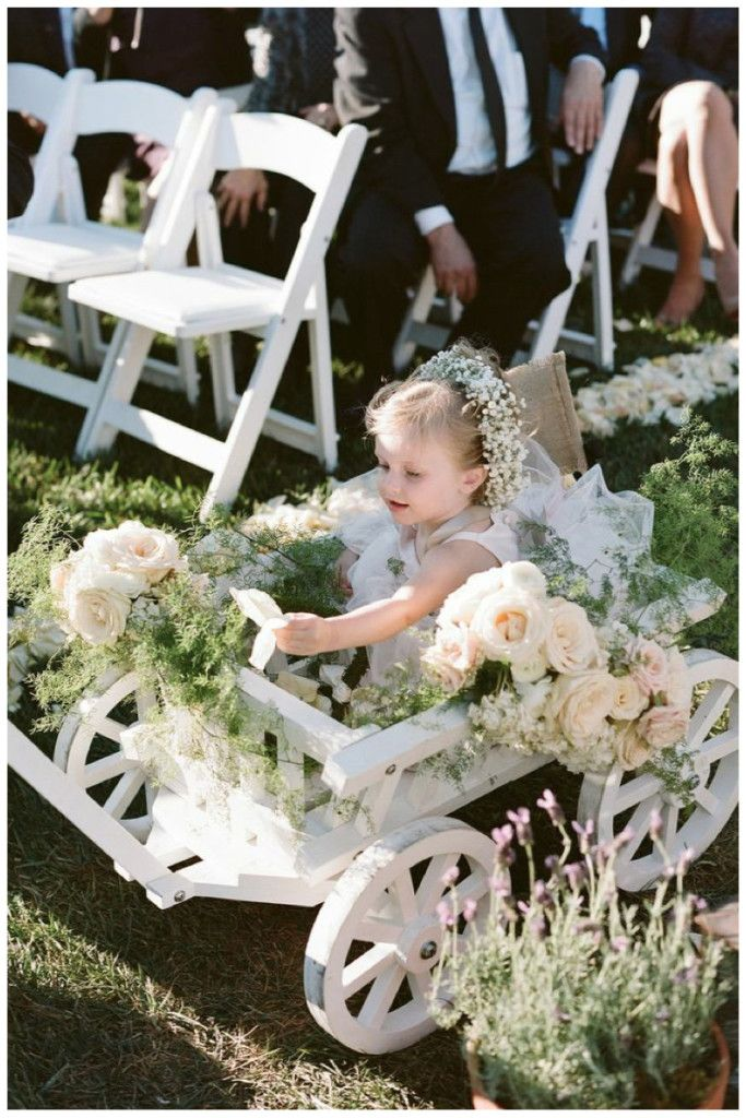 Kate & Ryan's Wedding, Terranea Resort | Details Details - Wedding and Event Planning, Tuscany inspired wedding, mix of natural and romantic wedding elements, overflowing florals, greenery, flower girl wagon, baby's breath halo