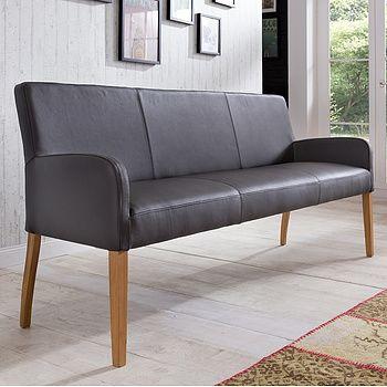 ALFO Sitzbank 183 cm in Echtleder Beine Buche oder Eiche massiv wählbar