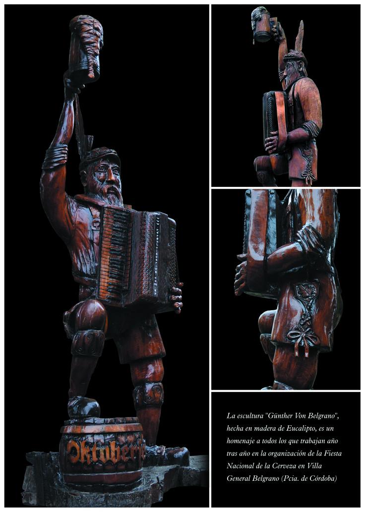 """Oktoberfest: La escultura """"Günther Von Belgrano"""", hecha en madera de Eucalipto, es un homenaje a todos los que trabajan año tras año en la organización de la Fiesta Nacional de la Cerveza en Villa General Belgrano (Pcia. de Córdoba)."""