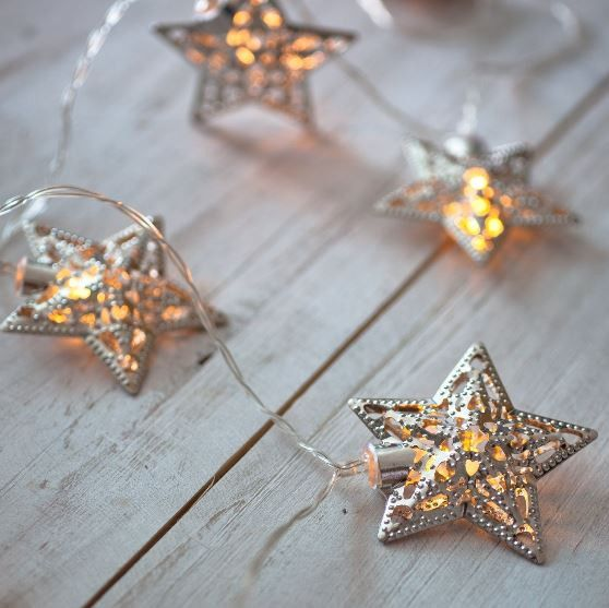 This string of 10 silver star lights is perfect to hang around a mantel, mirror, wedding arch, on a table, or anywhere else in your decor. The warm white LED bulbs give a soft cozy glow and the ornate