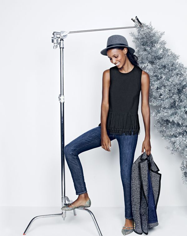 J.Crew women's knit tank top with fringe, lookout high-rise jean in Sanford wash, Rhodes blazer, classic felt hat with leather band and Sloan glitter d'Orsay flats with mini bow.