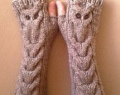 Owl Alpaca Brown Beige Long Hand Knit Cable Pattern Fingerless Gloves