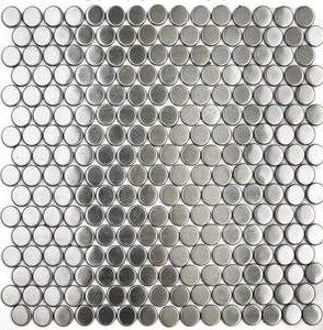 Perfect Stainless Steel Tile Backsplash Penny Round Brushed