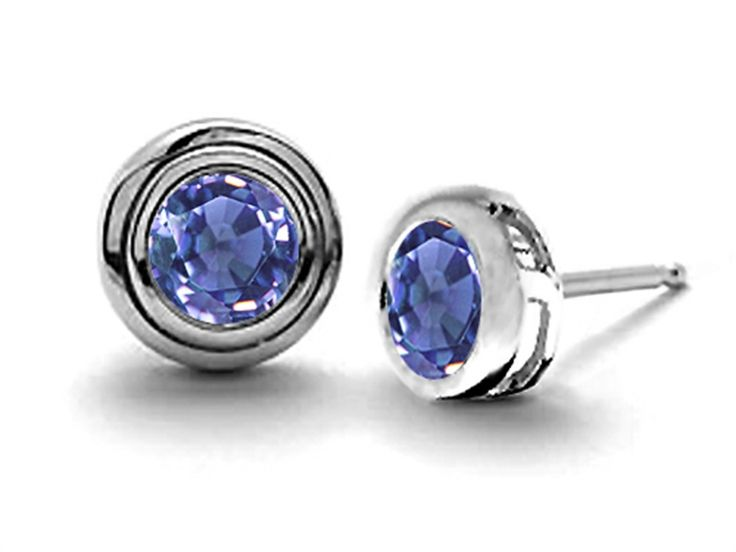 Star K Round Genuine Tanzanite Earrings Studs