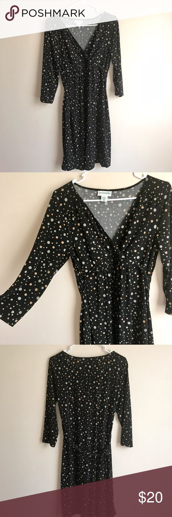 Polka Dot Maternity Dress Cute maternity dress from Motherhood... black with green, gray and tan polka dots... v-neck... 3/4 sleeves... ties in the back... polyester... in excellent condition Motherhood Maternity Dresses