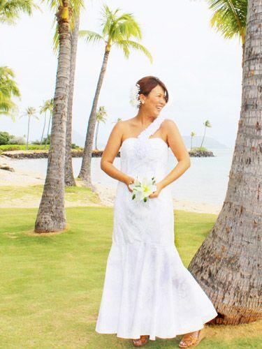 Hawaiian Wedding Dress May One Shoulder Lei Hibiscus White