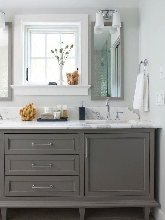Rhode Island Beach House beach style Bathroom Boston Rachel Reider Interiors BM booth bay gray and restoration hardware pulls Simple Elegant - Simple Elegant Gray Vanity Bathroom Ideas Simple
