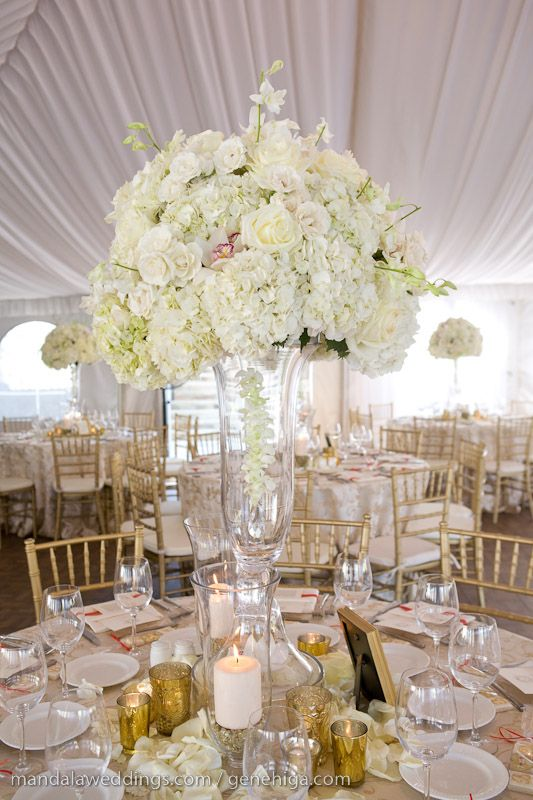 Large all white floral centerpiece ---- never mind everything else going on, and never mind the size. I like the textural balance and slight variation of depth.