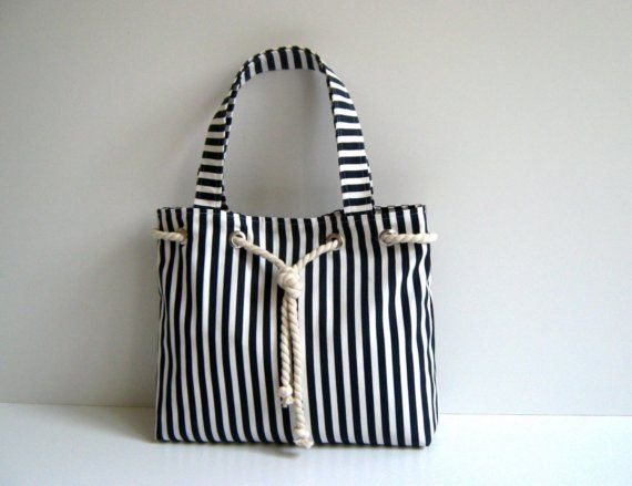 Sailor Tote Bag  -navy blue and white striped, with cotton rope accessory-. $35.00, via Etsy.