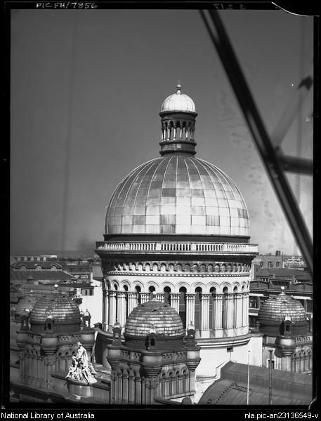Dome of Queen Victoria Building  Sydney between 1910 and 1962.   by  Frank Hurley, Australian photographer