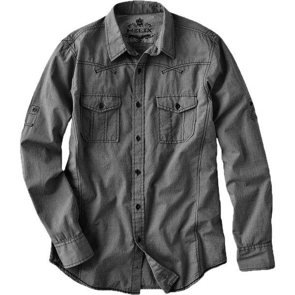 Helix™ Chambray Shirt ❤ liked on Polyvore featuring tops, shirt top, chambray woven shirt, chambray top and chambray shirts