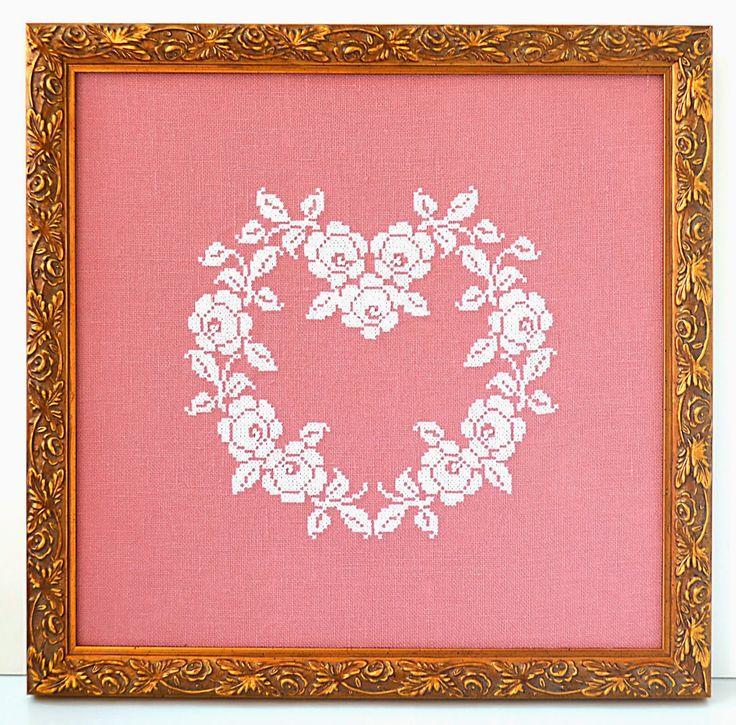 Sew French: Rose Heart Cross Stitch Pattern