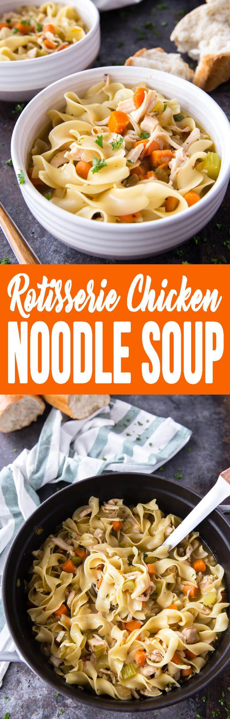 Rotisserie Chicken Noodle Soup is the best dinner during this time of year! Flu and cold season gets kicked in the butt with this for dinner!