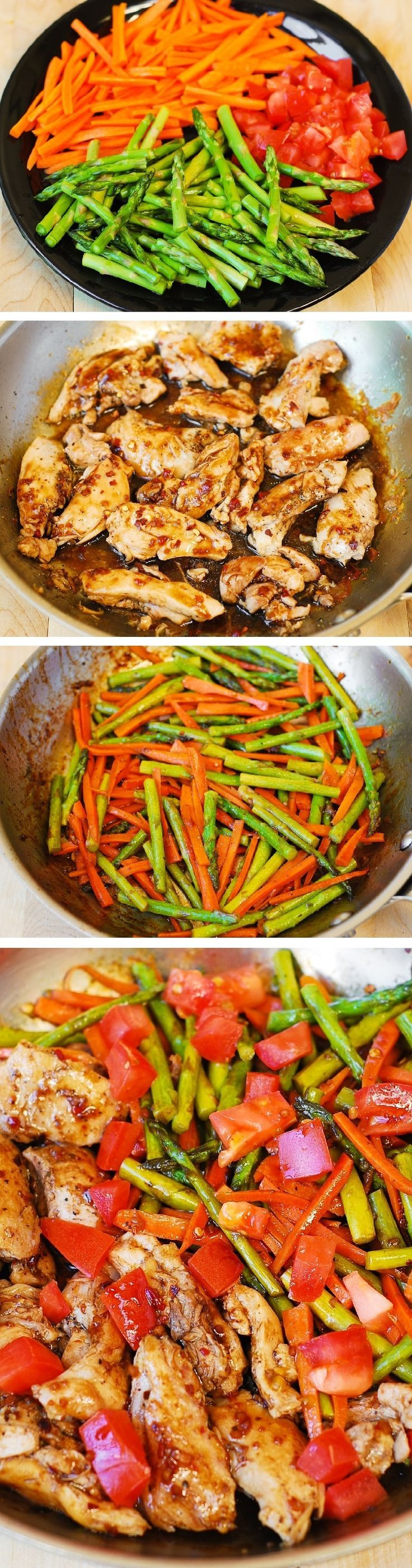 Balsamic Chicken with Asparagus and Tomatoes by bhg: Delicious, healthy, low fat, low cholesterol, low calorie meal, packed with fiber (vegetables) and protein (chicken).