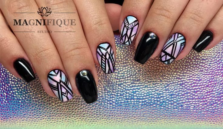 "Aztec Nails Black Magnifque Studio (@magnifique_studio_indigo_nails) auf Instagram: ""#indigonails #indigolovers #indigoombre #indigonailslab #ombrenails #ombre #blacknails #pastelnails…"""
