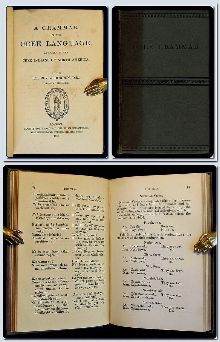 First edition of one of the first Cree grammars in English. Horden, who began his life as an ironworker, received his calling in 1851 and was sent to Canada with only two weeks notice — during which time he was expected to find a wife. He succeeded in finding both a wife and a fruitful career, eventually becoming the first bishop of Moosonee, diocese of Rupert's Land.