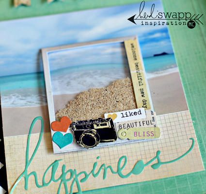 project life scrapbooking :: pocket full of sand collected at beach = nice hybrid layout