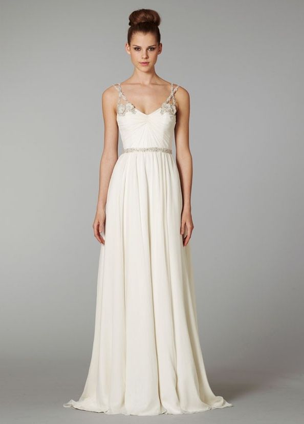 Kind of in love with this dress and under 200! Chic Column V-neck Chapel Train Chiffon Wedding Dress with Appliques and Beading