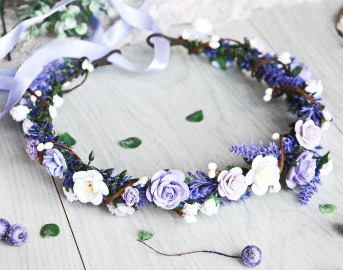Boho Flower Crown Flower Crown Wedding Purple Flower Girl Crown Flower Head Piece Floral Head Wreath Floral Headband Floral Crown