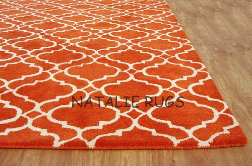 Brand New Carmen Scroll Orange 5x8 8x5 Handmade Woolen Area Rug Carpet | eBay