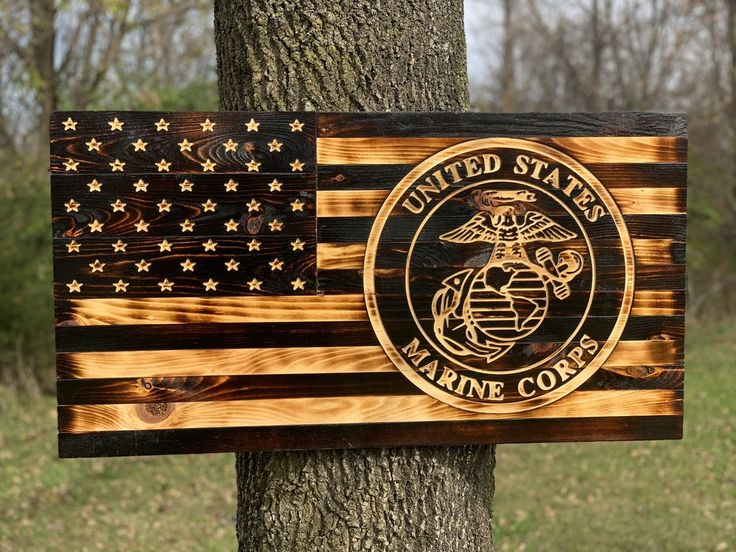 United States Marine Corps rustic wooden flag