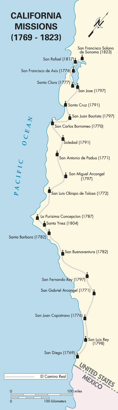 Road Trip - lots of Places to see along the California Coast Pacific Coast: California Missions map